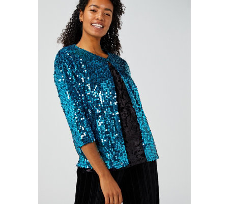 Sequin Shine 3/4 Sleeve Crop Jacket by Michele Hope