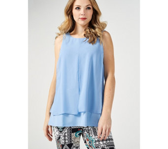 5c270697ff7ae3 Layered Chiffon Top with Button Detail by Nina Leonard - 176472