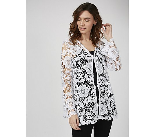 Antthony Designs Crochet Lace Cardigan with Long Sleeves