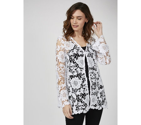 5f1c6833eaec95 Antthony Designs Crochet Lace Cardigan with Long Sleeves - QVC UK