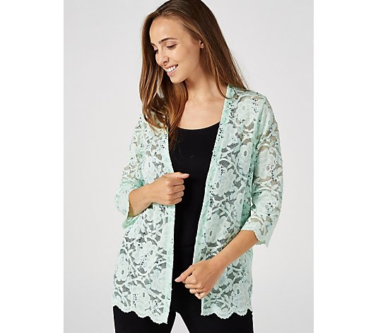 3/4 Sleeve Rose Lace Shrug with Scallop Hem by Michele Hope