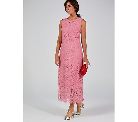 Isaac Mizrahi Live Sleeveless Lace Maxi Dress Side Slits