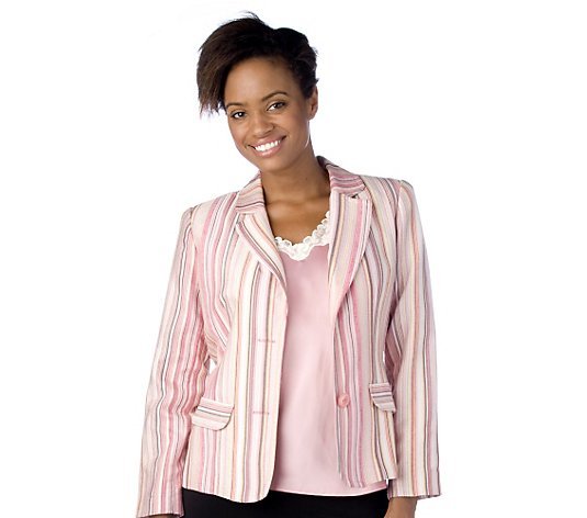 Dialogue Striped Jacket with Lace Edged Camisole