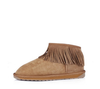 Emu Water Resistant Sheepskin Micro Boots with Fringe Detail - 160073