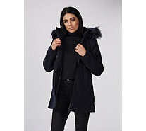 Centigrade Stretch Knit Wool Mix Coat with Faux Fur Trim - 174873