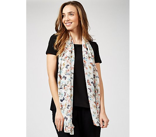 Kim & Co Butterfly Dance Printed Chiffon Scarf