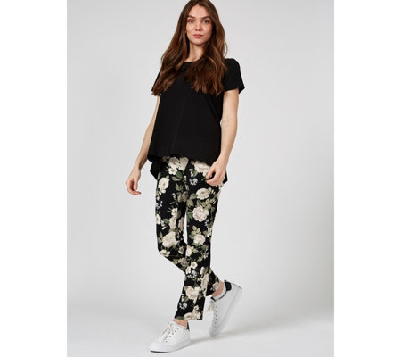 Printed High Tech Crepe Narrow Leg Trouser by Nina Leonard