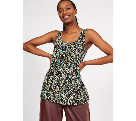 Kim & Co Printed Brazil Jersey Sleeveless Top with Ruching