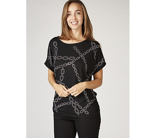 Outlet Frank Usher Crystal Chain Link Detail Stretch T-Shirt