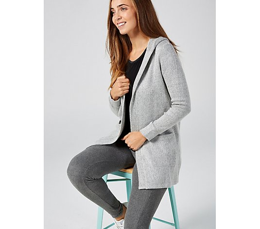 Cuddl Duds Sweater Knit Hooded Cardigan