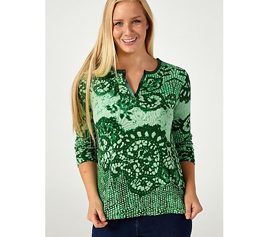 Artscapes Kurta Neck Lace Print Top