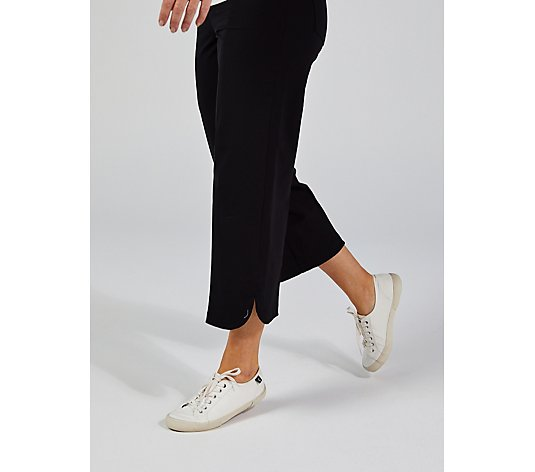 Isaac Mizrahi Live 24/7 Stretch Culotte Trousers With Side Slits And Pockets