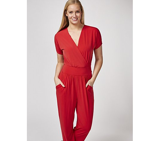 Kim & Co Brazil Jersey Falling Sleeve Jumpsuit with Pockets Regular