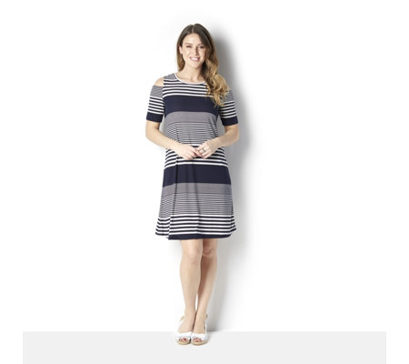 Ronni Nicole Textured Stripe Knit Swing Dress w/ Cold Shoulder