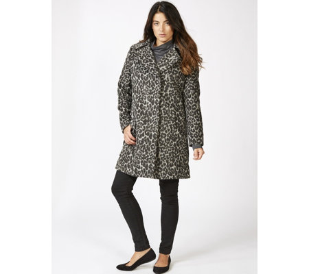 Outlet Centigrade Leopard Printed Wool Blend Coat