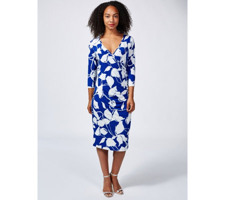 Mr Max Abstract Tulip Mock Wrap Dress