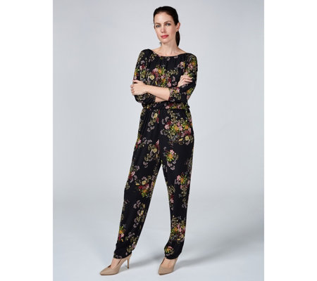 Kim & Co Brazil Jersey 3/4 Dolman Sleeve Jumpsuit with Pockets, Regular