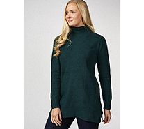 H by Halston Funnel Neck Mix Stitch Jumper - 174274