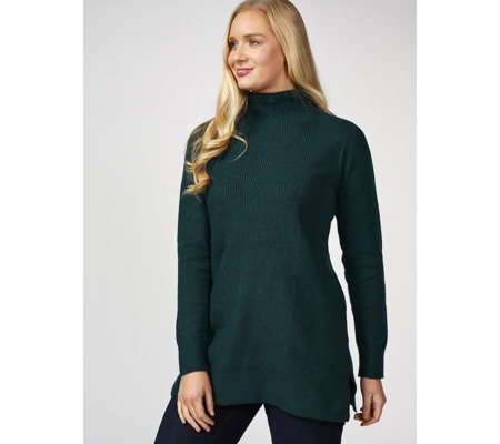 H by Halston Funnel Neck Mix Stitch Jumper