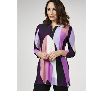 56c70d721951 Coco Bianco Zip Detail 3 4 Sleeve Shirt Collar Tunic - 175674