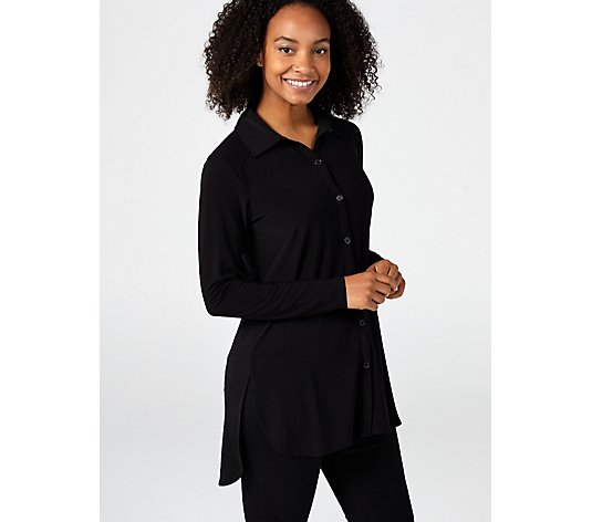 Long Sleeve Collared Button Front Shirt by Nina Leonard