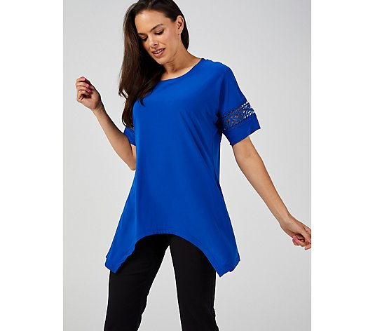 Round Neck Short Sleeve Top with Sleeve Detail by Nina Leonard