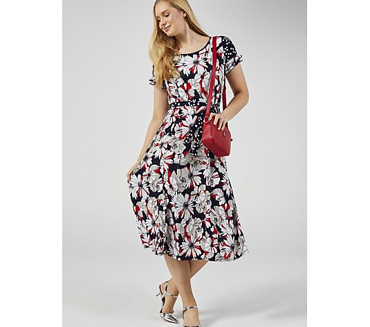 Perceptions Short Sleeve Printed Dress with Belt