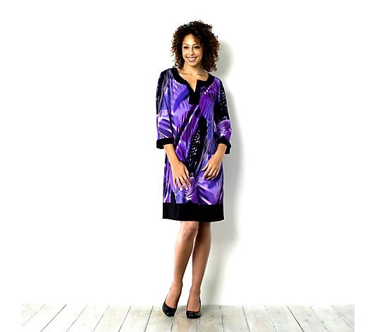 Tiana B 3/4 Sleeve Notch Neck Printed Dress