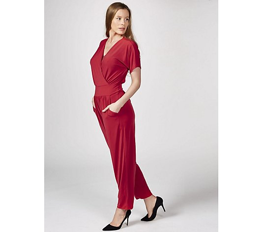 Kim & Co Brazil Jersey Falling Sleeve Jumpsuit with Pockets Petite