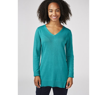 H by Halston Long Sleeve V Neck Knitted Tunic with Forward Seams