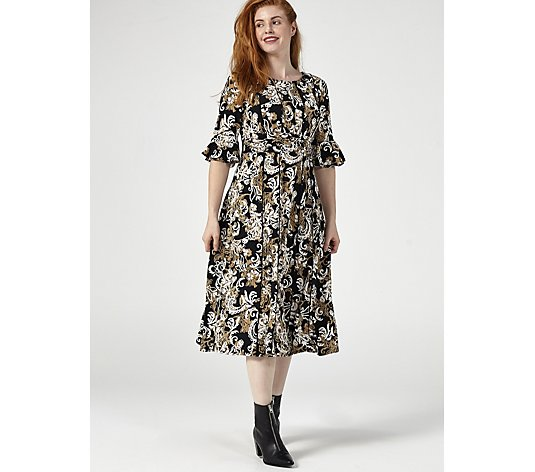 Perceptions Puff Print Elbow Sleeve Dress