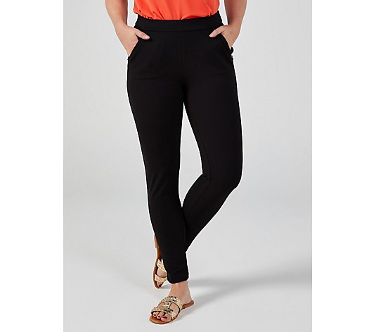 Pull On High Tech Crepe Legging with Invisible Zip Pockets by Nina Leonard
