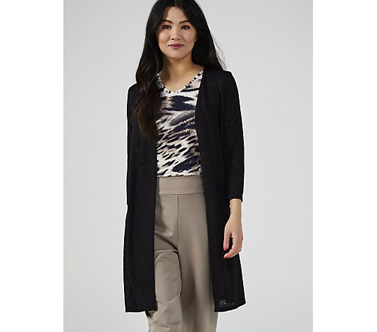 Kim & Co Linen Look Knit 3/4 Sleeve Duster with Side Slits