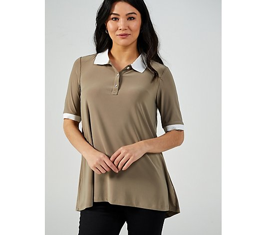 Hi-Lo Hem Tunic With Knit Collar and Button Placket by Nina Leonard
