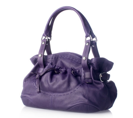 047854a393 B Makowsky Glove Leather Double Handle Shoulder Bag with Magnetic Fastener