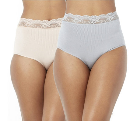 Vercella Vita Medium Control Lace Trim Briefs Pack of 2