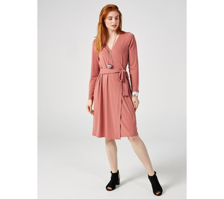 MarlaWynne Luxe Crepe Wrap Shirt Dress