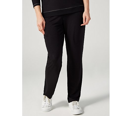 Quacker Factory Anytime Straight Leg Trousers with Metallic Trim