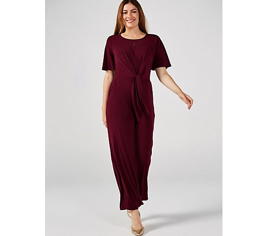 Round Neck Elbow Flutter Sleeve Stretch Crepe Palazzo Jumpsuit by Nina Leonard