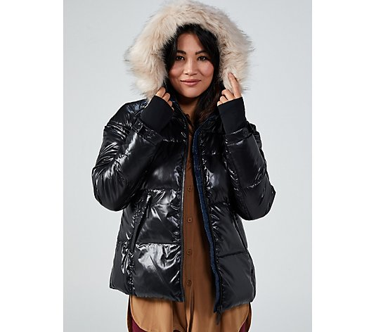Centigrade Quilted Wet Look Short Puffer Jacket