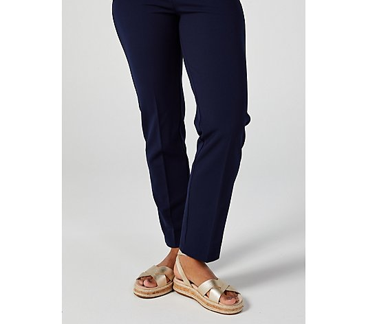 Elastic Waist Straight Fit Trousers with Zip Details by Nina Leonard