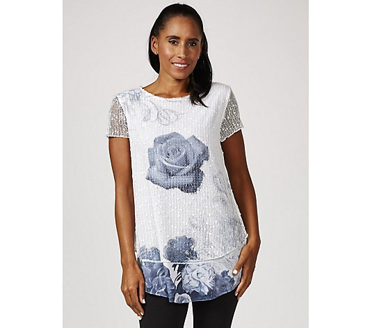 Joe Browns Printed Sequin Open Weaved Layered Top