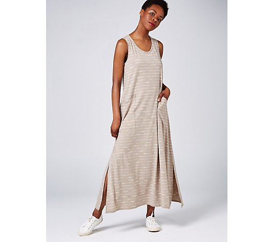 MarlaWynne Striped Maxi Dress with Pockets Regular Length