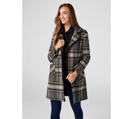 Helene Berman Short Edge To Edge Checked Coat