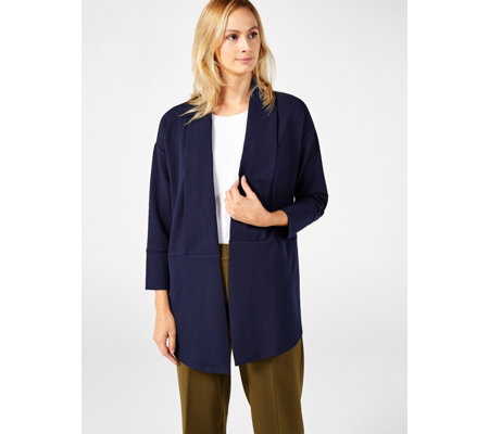Long Sleeve High Tech Crepe Cardigan by Nina Leonard