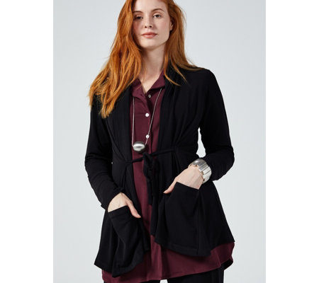 MarlaWynne Luxe Crepe A-Line Jacket with Pockets & Tie Detail