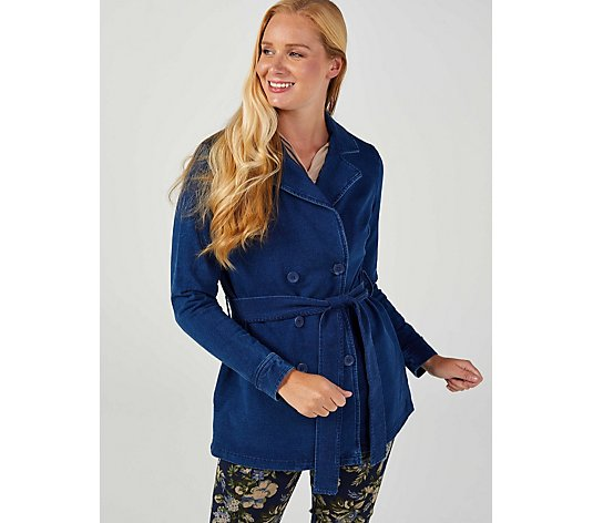 Denim & Co Comfy Denim Knit Puff Sleeve Peacoat With Pockets