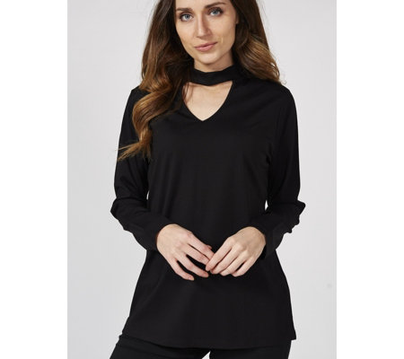 Du Jour Long Sleeve Knit Top with Choker V Neck