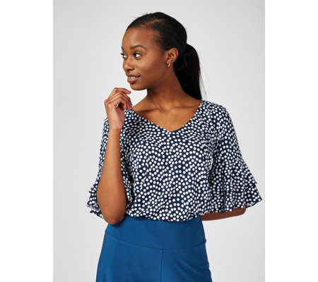 Coco Bianco Printed V Neck Top with Ruffle Detail