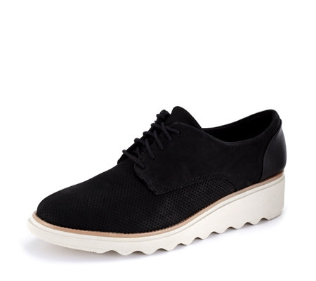 Clarks Sharon Crystal Lace Up Flatform Shoe Standard Fit